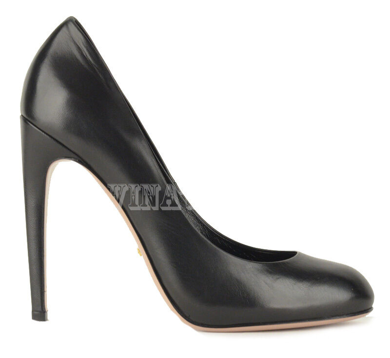 GUCCI SHOES HIGH HEEL BLACK LEATHER ROUNDED TOELINE PUMP $635 sz 39.5 / 9.5