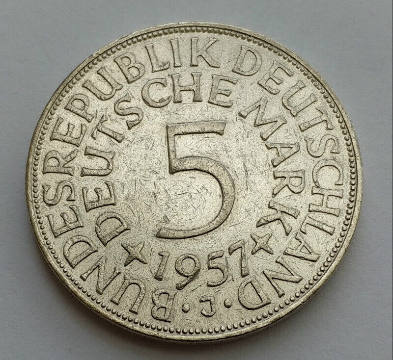 1957-J Germany 5 Mark .625 Silver Coin