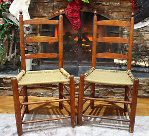 2 Primitive Rope Seat Ladder Back Chairs