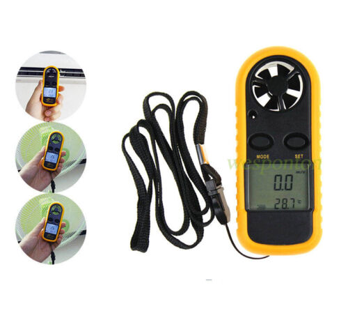 Electronic Digital Thermometer LCD Anemometer Air Wind Speed Gauge Meter