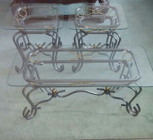 Glass Coffee Table and 2 Matching Side Tables London Ontario image 1