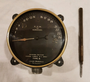 antique WWI airplane cockpit tachometer.  CURTISS JN-4 JENNY