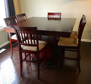 Counter height cherry table with 6 chairs Edmonton Edmonton Area image 2
