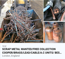 FREE SCRAP METAL COLLECTION 24/7 BEST PRICE PAID SAME DAY PICK UP