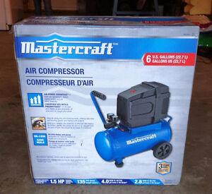 """COMPRESSEUR D'AIR """"Mastercraft"""" (6 Gallons) ***Neuf***"""