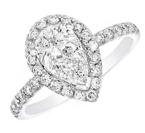 1.90 Carat Pear Shaped Halo Design Diamond Engagement Ring 18k White Gold GIA...