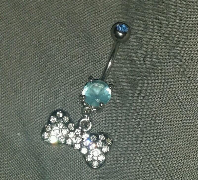 C.Z. Gem Dog bone belly ring doggy animals baby blue body jewelry piercing pet