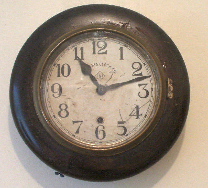 "American Ansonia Clock Co Circular Mahogany Case Timepiece Wall Clock 12""D"