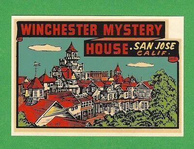"VINTAGE ORIGINAL 1948 SOUVENIR ""WINCHESTER MYSTERY HOUSE"" SAN JOSE CA DECAL ART"