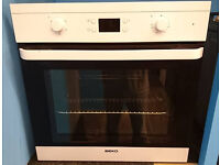 Fo49 white beko integrated single electric oven comes with warranty can be delivered or collected