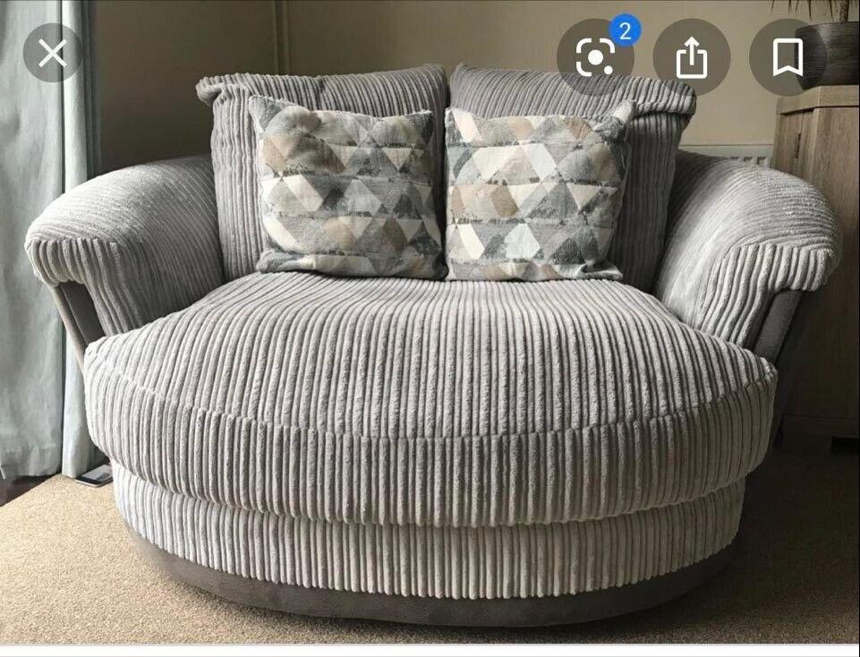 Cuddle seat/ Love chair - Harveys - Grey plush fabric and ...