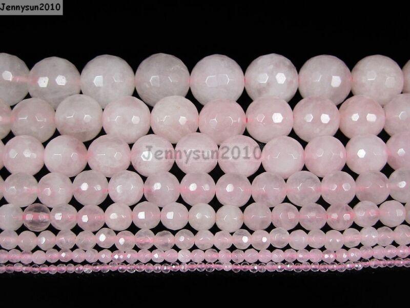 Natural Rose Quartz Gemstone Faceted Round Beads 15