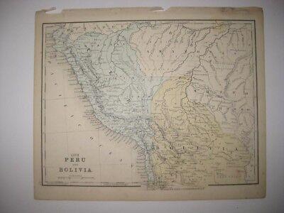 VINTAGE ANTIQUE 1876 VENEZUELA COLOMBIA EQUADOR PERU BOLIVIA SOUTH AMERICA MAP