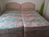 Single divan bed with storage and mattress x 2