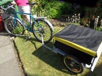 SARACEN BACKTRAX MOUNTAIN BIKE WITH 140 LITRE CARGO TRAILER WELL CARED FOR AND IN GREAT CONDITION