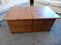 Pine coffee table with storage. Two drawers to one side & other side deep and lifts up for storage