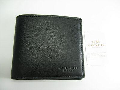 New COACH Men Leather Double Billfold Sport Calf Wallet BLACK F75084 $150