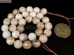 Natural Sunstone Gemstone Faceted Round Beads 15.5'' 6mm 8mm 10mm 12mm 14mm 16mm