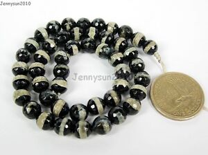 Tibetan Agate Gemstone Faceted Round Loose Beads 15'' 6mm 8mm 10mm 12mm 14mm