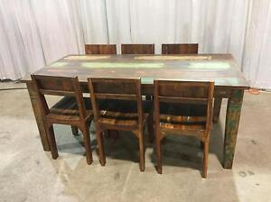 Rustic Recycled wood dining tables  6ft with 6 chairs with storage drawers
