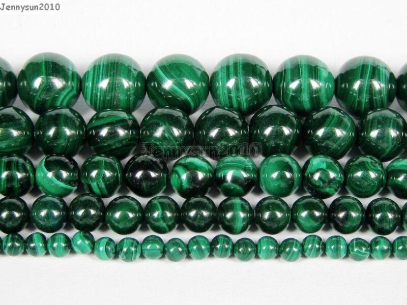 Natural Malachite Gemstone Round Beads 15.5