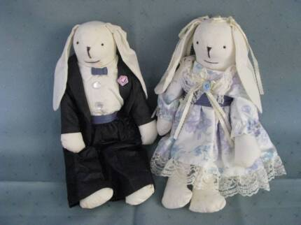 BRIDE & GROOM MICE / PADDED ORNAMENTS for WEDDING DECORATIONS