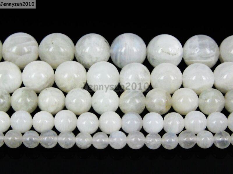 Natural White Moonstone Gemstone Round Beads 15.5