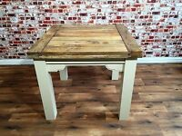 Extending Rustic Farmhouse Dining Table with Square Legs in Farrow & Ball - Brand New