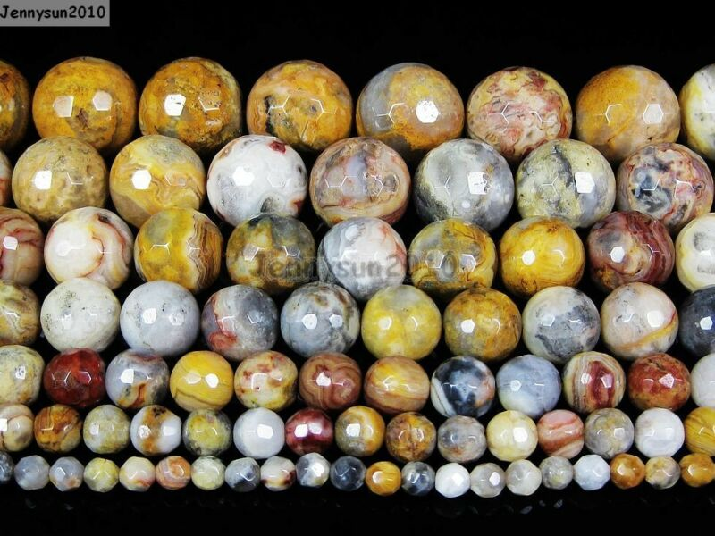 Natural Crazy Lace Agate Gemstone Faceted Round Beads 15.5