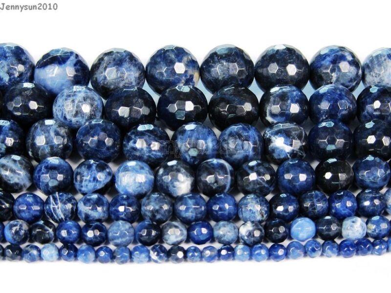 Natural Sodalite Jasper Gemstone Faceted Round Beads 15