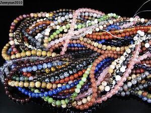 Natural-Gemstones-3-5mm-4mm-4-5mm-Round-Loose-Beads-15-039-039-16-039-039-Pick-Stone