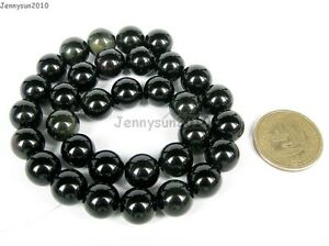 Natural Obsidian Gemstone Round Beads 16'' 4mm 5mm 6mm 8mm 10mm 12mm 14mm 16mm