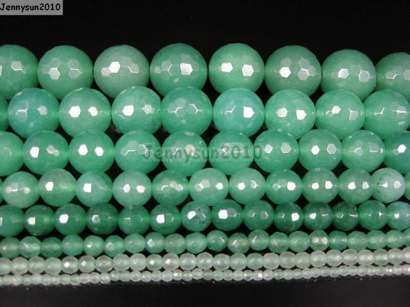 Natural Aventurine Gemstone Faceted Round Beads 15.5