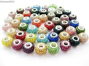 10pcs Top Quality Czech Crystal Rhinestones Beads Fit European Bracelet Charm