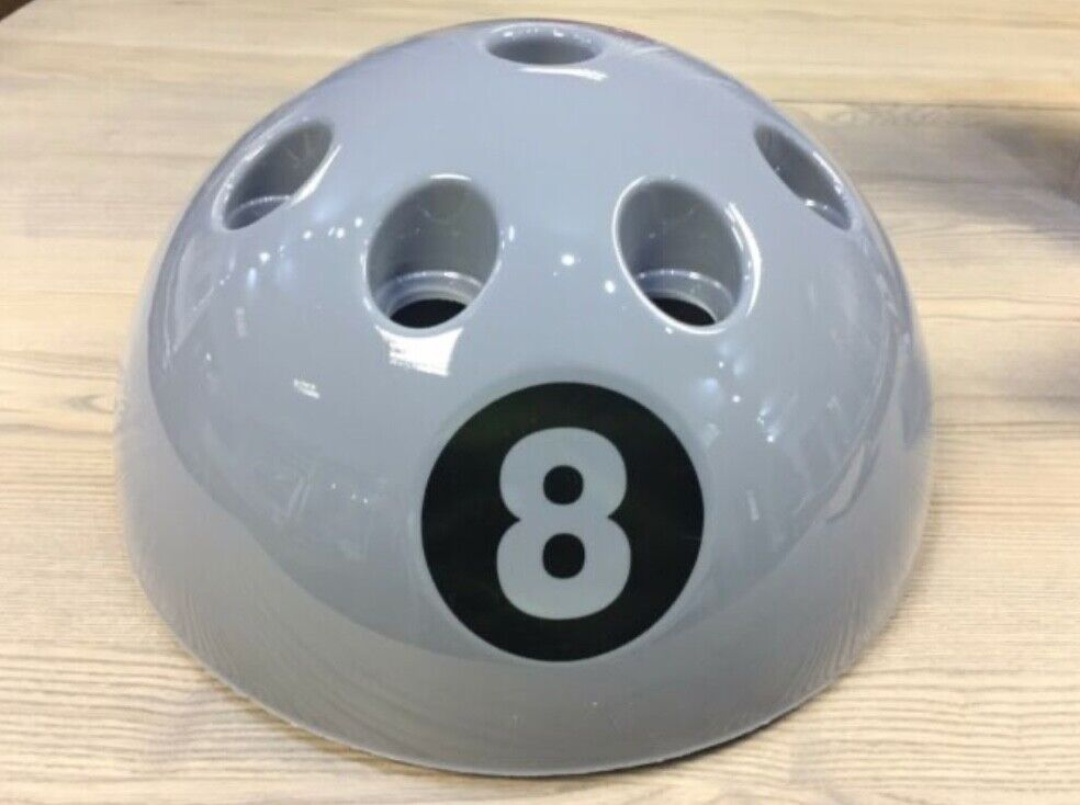 Giant 8 Ball Floor Standing Cue Holder Rack - Grey. New - Not used. Holds 9 cues