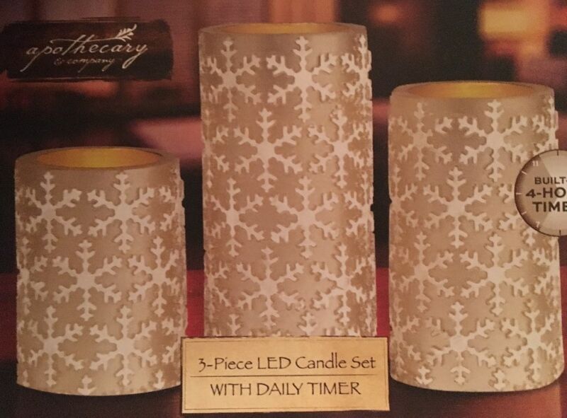 Apothecary & Co 3-Piece LED Gold /w White Snowflakes: Built-in Timer & Remote