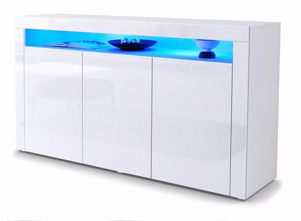 White Gloss Sideboard Modern Cabinet Cupboard Buffet Unit Led Light 130cm Rrp 199 95