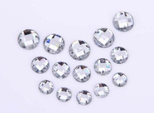 CraftbuddyUS 50pcs 10mm Clear Round Sew On Acrylic Diamante Crystal Rhinestones