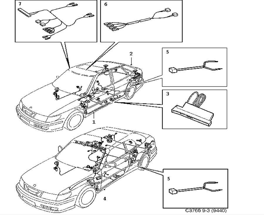 Genuine Saab 9-3 1998-2003 side Airbag wiring Harness