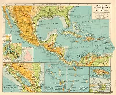 Mexico Central America & The West Indies 1930 Original Antique Map