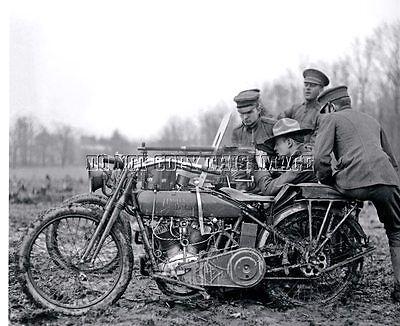ANTIQUE REPRO 8X10 WW1 PHOTO MACHINE GUN MOUNTED HARLEY DAVIDSON MOTORCYCLE #3