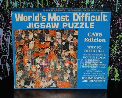 1991 Cat Puzzle   Worlds Most Difficult Jigsaw Double Sided Ditz Cats 529Pc Vtg
