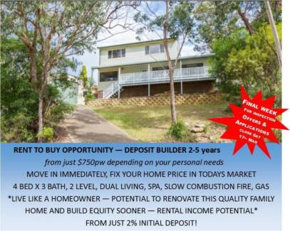 RENT TO BUY from $749pw HUGE! FAMILY HOME, 4bed 3bath, 2 LEVELS