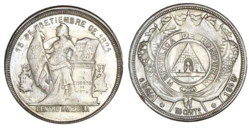 Honduras, 50 centavos, 1908/897, fineness 0.835/0.900, NGC MS 63. KM-51a. Choice