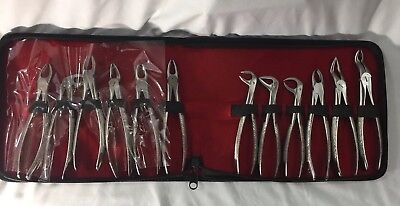 Set Of 12 Dental Surgery Tooth Extracting Forcep Kit Stainless Steel Sand Polish
