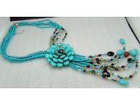 JOAN RIVERS Starlet Simulated TURQUOISE Beaded Fringe dangle necklace  STUNNING