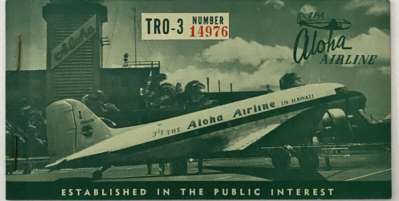 1952 Aloha Airline Ticket Hawaii