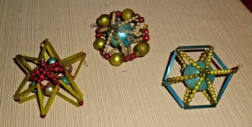 Vintage Lot of 3 Japanese Glass Beaded Christmas Ornaments w/ Glass Tubes