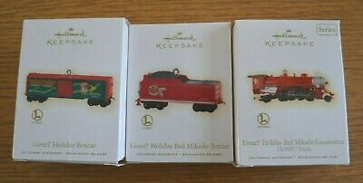 2009 Three-Piece Set Hallmark Keepsake Lionel Train Mikado Holiday Red Steam