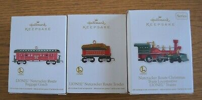 2012 Three-Piece Set Hallmark Keepsake Lionel Train Nutcracker Route Red Steam